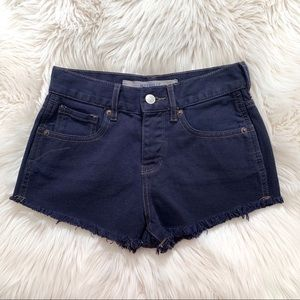 Brandy Melville Dark Blue High Waisted Jean Shorts